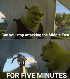 Ugh: Can you stop attacking the Middle East  the US.  FOR FIVE MINUTES Ugh