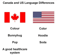 America, Fuck yeah: Canada and US Language Differences  Colour  Bunnyhug  Pop  A good healthcare  Color  Hoodie  Soda  system America, Fuck yeah