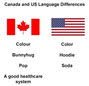 America, Dank, and Memes: Canada and US Language Differences  Colour  Bunnyhug  Pop  A good healthcare  Color  Hoodie  Soda  system America, Fuck yeah by Maxutin02 MORE MEMES