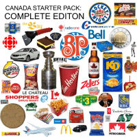 Drug Mart: CANADA STARTER PACK:  COMPLETE EDITON  324  COFFE  CRISP  the  10  au  gp|radio one  WEST  GEAR  CBC  Bell  POLICE  New Lock  Same great  Mème gout  taste  délicieux!  HONTANAS  BBQ & BAR  MS FAMINAL  yrup  im Horton  CANADIAN  THE RIM  Kraft Dinne  TO  ORIGINAL  Ketchup  Tellers  CHEEZIESSWISS  CHALET  225 g  LE CHATEAU  SHOPPERS  DRUG MART  DOLLA DOLLARAMAARAMA  505  RBC  Roots  00%  ORGANIC  3.8%  WHOLE MILK  MAXIMUM  100  We care about you  4 LIFRES  All Dressed  BMO  km/h  MUCH  AIR CANADA  PETROCANADA  669