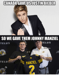 Johnny Manziel, Memes, and Nfl: CANADAGAVE USJUSTIN BIEBER  SO WE GAVE THEM JOHNNY MANZIEL  TELUS  ELUS  NELHate Memes  U S  ズ  TELU  MANZIEL We still got screwed