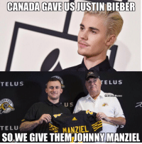 America, Definitely, and Johnny Manziel: CANADAGAVEUSJUSTIN BIEBER  TELUS  TELuS  @NFLHateMemes  U S  TELU  MANZIEL  SOWE GIVE THEM JOHNNY MANZIEL America definitely won this trade 🔥😂😂 https://t.co/TDT3KeDmCb