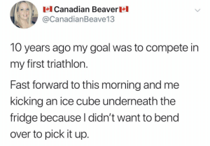 Out of sight, out of mind.: Canadian Beaver  @CanadianBeave13  10 years ago my goal was to compete in  my first triathlon.  Fast forward to this morning and me  kicking an ice cube underneath the  fridge because l didn't want to bend  over to pick it up. Out of sight, out of mind.