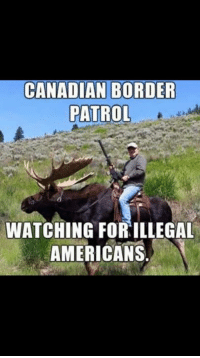 Memes, American, and Watch: CANADIAN BORDER  PATROL  WATCHING FOR ILLEGAL  AMERICANS