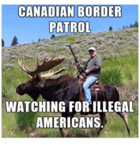 Wshh, American, and Canada: CANADIAN BORDER  PATROL  WATCHING FOR ILLEGAL  AMERICANS The Canadian border is heavily patrolled 😂 #Canada #WSHH