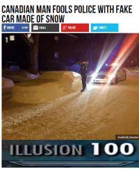 <p>Meanwhile in Canada&hellip;</p>: CANADIAN MAN FOOLS POLICE WITH FAKE  CAR MADE OF SNOW  SHARE 4390EMAIL  87 SHARE  TWEET  Facebook/Maxime  ILLUSION 100 <p>Meanwhile in Canada&hellip;</p>