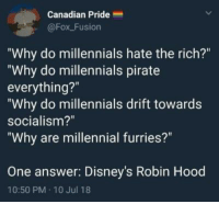 "Millennials, Socialism, and Canadian: Canadian Pride  @Fox_Fusion  Why do millennials hate the rich?""  ""Why do millennials pirate  everything?""  ""Why do millennials drift towards  socialism?""  Why are millennial furries?""  One answer:  Disney's Robin Hood  10:50 PM 10 Jul 18 meirl"