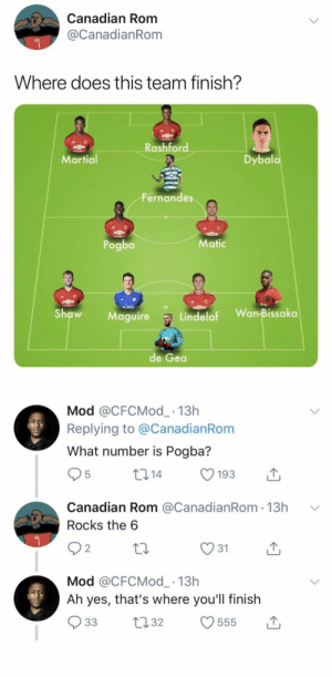 😂😂😂 https://t.co/6NwZL4HXSH: Canadian Rom  @CanadianRom  Where does this team finish?  Rashford  Dybala  Martial  Fernandes  Pogba  Matic  KING  Wan-Bissaka  Shaw  Lindelof  Maguire  de Gea   Mod @CFCMod_ 13h  Replying to @CanadianRom  What number is Pogba?  214  5  193  Canadian Rom @CanadianRom 13h  Rocks the 6  31  2  Mod @CFCMod_ 13h  Ah yes, that's where you'll finish  33  22.32  555 😂😂😂 https://t.co/6NwZL4HXSH