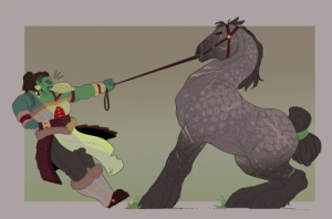 canadian-witch:  A delightful commission from pumpkan of their half-orc Greska and a horse named after her. Only two slots left for my commission deal on characters with horses, so if you were thinking of getting in on that now's the time!: canadian-witch:  A delightful commission from pumpkan of their half-orc Greska and a horse named after her. Only two slots left for my commission deal on characters with horses, so if you were thinking of getting in on that now's the time!
