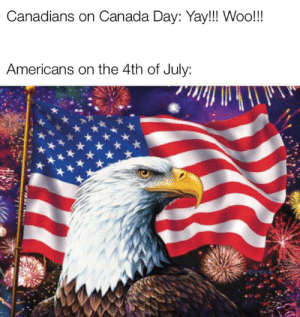 *Shotgun pumps*: Canadians on Canada Day: Yay!!! Woo!!  Americans on the 4th of July: *Shotgun pumps*