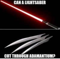 Memes, 🤖, and Adamantium: CANALIGHTSABER  CUTTHROUGH ADAMANTIUM? Someone needs to invent both of these so we can put them to the test. Follow @9gag 9gag wolverine lightsaber