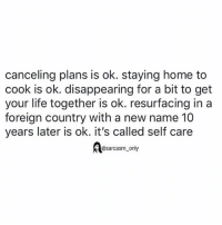 SarcasmOnly: canceling plans is ok. staying home to  cook is ok. disappearing for a bit to get  your life together is ok. resurfacing ina  foreign country with a new name 10  years later is ok. it's called self care  @sarcasm only SarcasmOnly