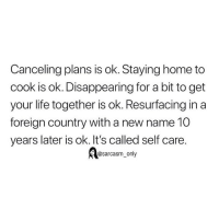 SarcasmOnly: Canceling plans is ok. Staying home to  cook is ok. Disappearing for a bit to get  your life together is ok. Resurfacing in a  foreign country with a new name 10  years later is ok. It's called self care.  @sarcasm_only SarcasmOnly
