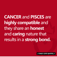 #CANCER + #PISCES = highly compatible!  Via Daily Love Quotes 💘: CANCER and PISCES are  highly compatible and  they share an honest  and caring nature that  results in a strong bond.  I/ DAILY LOVE QUOTES// #CANCER + #PISCES = highly compatible!  Via Daily Love Quotes 💘