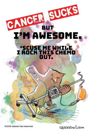 Omg, Tumblr, and Blog: CANCER SUCKS  BUT  I'MAWESOME.  SCUSE ME WHILE  I ROCK THIS CHEMO  OUT.  ©2016 Matthew Paul MeWhorter  cancefowl.com omg-images:Rock the Chemo [OC]