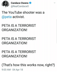 Memes, youtube.com, and Peta: Candace Owens  @RealCandaceo  The YouTube shooter was a  @peta activist.  PETA IS A TERRORIST  ORGANIZATION!  PETA IS A TERRORIST  ORGANIZATION!  PETA IS A TERRORIST  ORGANIZATION!  (That's how this works now, right?)  9:03 AM 04 Apr 18 (CS)