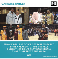 Basketball, Nba, and WNBA (Womens National Basketball Association): CANDACE PARKER  B-R  ESTERN  LSTAR  Cn  FEMALE BALLERS DON'T GET DISRESPECTED  BY NBA PLAYERS. IT'S USUALLY  DUDES THAT DON'T PLAY BASKETBALL  THAT DISRESPECT THE WNBA  66 99  HIT ESPN'S SARAH SPAIN Game respects game 💯