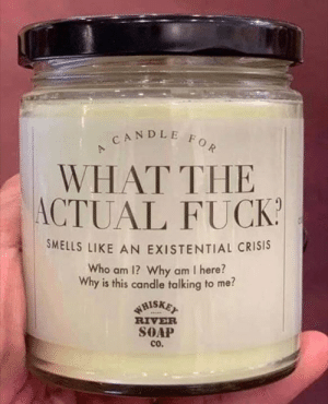 existential crisis: CANDLE FOR  WHAT THE  ACTUAL FUCK  SMELLS LIKE AN EXISTENTIAL CRISIS  Who am 1? Why am I here?  Why is this candle talking to me?  WHISKET  RIVER  SOAP  cO.