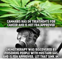 Memes, Cancer, and Discover: CANNABIS HAS 34 TREATMENTS FOR  CANCER AND IS NOT FDA APPROVED  CHEMOTHERAPY WAS DISCOVERED BY  POISONING PEOPLE WITH MUSTARD GAS  AND IS FDAAPPROVED. LET THAT SINKIN. http://www.realfarmacy.com/34-medical-studies-for-the-skeptic/