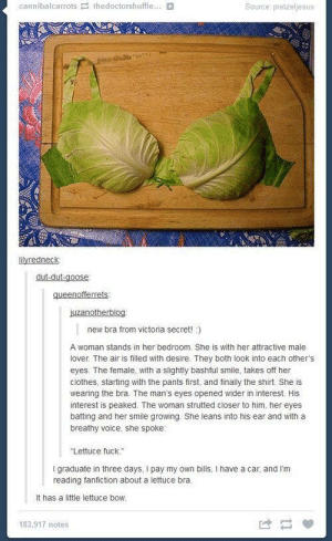 "Lettuce dance!: cannibalcarrots thedoctorshuffle...  Source pretzeljesus  lilyredneck  new bra from victoria secret!)  A woman stands in her bedroom. She is with her attractive male  lover. The air is filled with desire. They both look into each other's  eyes. The female, with a slightly bashful smiie, takes off her  clothes, starting with the pants first, and finally the shirt. She is  wearing the bra. The man's eyes opened wider in interest. His  interest is peaked. The woman strutted closer to him, her eyes  batting and her smile growing. She leans into his ear and with a  breathy voice, she spoke  Lettuce fuck.""  I graduate in three days, I pay my own bills, I have a car, and I'm  reading fanfiction about a lettuce bra.  It has a little lettuce bow  183,917 notes Lettuce dance!"