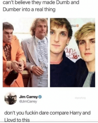 Dumb: can't believe they made Dumb and  Dumber into a real thing  un  Jim Carrey  @JimCarrey  don't you fuckin dare compare Harry and  Llovd to this
