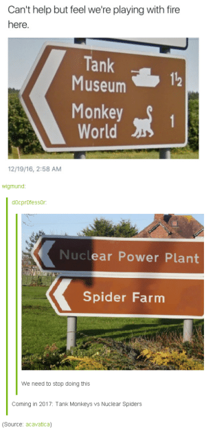 Fire, Spider, and Help: Can't help but feel we're playing with fire  here.  Tank  112  Museum  Monkey S 1  World  12/19/16, 2:58 AM  wigmund:  docprOfessOr:  Nuclear Power Plant  Spider Farm  we need to stop doing this  Coming in 2017: Tank Monkeys vs Nuclear Spiders  (Source: acavatica) Coming in 2017