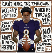 Nfl, Baltimore, and Ravens: CANT MAKE THE THROWS.  ACCURACY  ISNT THERE  WHENHE  THROWS  HE  CANT  READ  COVERAGES  HOPES  RAVENS  MOVE  HIM To  NO  SHOT  AT  PLAYING  RECEWER  GB IN  THE NFL Lamar Jackson is ready to prove the doubters wrong in Baltimore!
