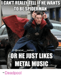 Maybe it could be both.: CAN'T REALLY TELLIF HE WANTS  TO BE SPIDERMAN  G: @marvel  memes  NOR HE JUST LIKES  METAL MUSIC  Deadpool Maybe it could be both.