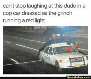 Dude, Funny, and The Grinch: can't stop laughing at this dude in a  cop car dressed as the grinch  running a red light  timestofun.com 25 most Funny hilarious Memes Of the Day