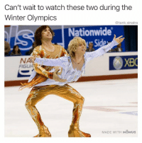 Funny, Nationwide, and Winter: Can't wait to watch these two during the  Winter Olympics  @tank.sinatra  Nationwide  NA  FIGU  MADE WITH MOMUS BALL SO HARD