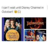 """Disney Channel, Hocus Pocus, and Sarah Jessica Parker: can't wait until Disney Channel in  October!!  SARAH JESSICA PARKER  KAHIY NAUIN  CHC  """"Very, Very Funny. A 10!""""  OO  Hocus  Pocus  BETWITCHED EDITION I love twitches OMG the moon and the sun and the twins and amazing"""