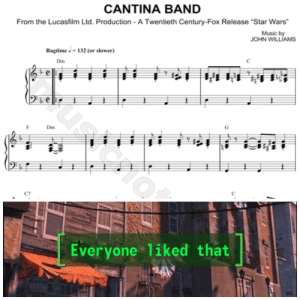 "Music, Star Wars, and Star: CANTINA BAND  From the Lucasfilm Ltd. Production - A Twentieth Century-Fox Release ""Star Wars  Music by  JOHN WILLIAMS  Ragtime132 (or slower)  Dm  99  Dm  Everyone 1iked that Everyone favorite song"