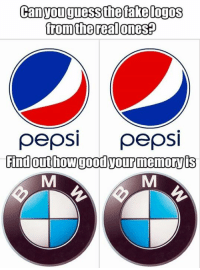 Can you guess the fake logos from the real ones? Find out how good your memory is Read the full story here 👉 https://1jux.net/599756/70232: Canyouguessthetakelogos  fromthe realones?  pepsi pepsi Can you guess the fake logos from the real ones? Find out how good your memory is Read the full story here 👉 https://1jux.net/599756/70232