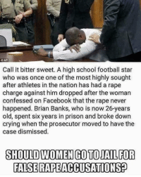 Absolutely.: CAP  Call it bitter sweet. A high school football star  who was once one of the most highly sought  after athletes in the nation has had a rape  charge against him dropped after the woman  confessed on Facebook that the rape never  happened. Brian Banks, who is now 26-years  old, spent six years in prison and broke down  crying when the prosecutor moved to have the  case dismissed  SHOULD WOMEN GO TOJAIL FOR  FALSE RAPEACCUSATIONS Absolutely.