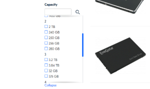 This (huge) online store sorts hard drive capacity by first number: Capacity  U 1YZU CD  2  O 2 TB  240 GB  O 250 GB  256 GB  O 280 GB  ExeGate  O 3.2 TB  O 3.84 TB  Solid Sate Drive  32 GB  375 GB  Collapse This (huge) online store sorts hard drive capacity by first number