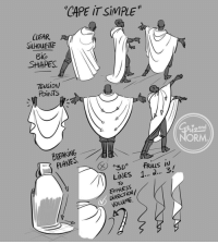 """Target, Too Much, and Tumblr: """"CAPE İTSİMPLE'.  CLEAR A  SILHOUETTE  Bic  SHAPES  TENSION  POiNTS  Y and  ORM  BREAKING  PLANES.  LİNES 1 a 3!  ExPRESS  DIRECTION/  VDLUME grizandnorm:  Tuesday Tips - Cape It Simple!  I don't need to add too much explanation today. A cape, cloak or long coat simplifies the silhouette of most character, gives them a unique look or presence and conceals a lot of the overall anatomy. Keep track of the character underneath to know where to fold, drop or stretch the fabric. The fabric itself should play a role too. Different behave differently. Movement and gravity are key to """"ground"""" your character in the environment and make it look believable. -Norm @grizandnorm #capeitsimple #100tuesdaytipsbook #100tuesdaytips #arttutorial #arttips"""
