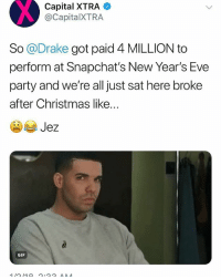 @champagnepapi happy 2018 ➡️ TAG 5 FRIENDS ➡️ TURN ON POST NOTIFICATIONS: Capital  XTRA  @CapitalXTRA  So @Drake got paid 4 MILLION to  perform at Snapchat's New Year's Eve  party and we're all just sat here broke  after Christmas like...  GIF @champagnepapi happy 2018 ➡️ TAG 5 FRIENDS ➡️ TURN ON POST NOTIFICATIONS
