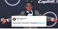 NFL players react to @Jarrius winning the Jimmy V Award at the #ESPYS: https://t.co/SQLc3nT4t5 https://t.co/nxy0LStjnL: CapitalO  Mark Ingram II  @Marklngram22  Good job lil homie!! Congrats @Jarrius  9:37 PM 12 Jul 2017 NFL players react to @Jarrius winning the Jimmy V Award at the #ESPYS: https://t.co/SQLc3nT4t5 https://t.co/nxy0LStjnL