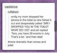 "Dramatic Death http://www.damnlol.com/dramatic-death-89419.html: capitalvice:  ruffaloon:  omfg my mom dropped her  iphone in the toilet so she fished it  out and desperately yelled ""SIRI I  DROPPED YOU IN THE TOILET  WHAT DO I DO' and siri replied  ""Tara, you have 28 events in July.  That's a lot.' and then died  more dramatic than romeo and  juliet Dramatic Death http://www.damnlol.com/dramatic-death-89419.html"