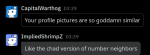 You heard it here folks, picture neighbors are the new hotness: CapitalWarthog 03:39  Your profile pictures are so goddamn similar  ImpliedShrimpZ 03:39  Like the chad version of number neighbors You heard it here folks, picture neighbors are the new hotness