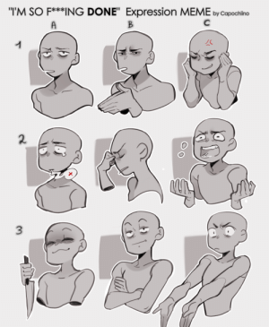 capochiino:Because i had a really bad week and need to vent on it a bit. People keep asking me for a new expression meme sheet and here you go after all those years. You can use it or not use it as you like QwQ just pls credit me. Thanks :3: capochiino:Because i had a really bad week and need to vent on it a bit. People keep asking me for a new expression meme sheet and here you go after all those years. You can use it or not use it as you like QwQ just pls credit me. Thanks :3