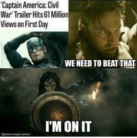 [Insert one paragraph summery of the trailer here] ~Green Arrow: 'Captain America: Civil  War' Trailer Hits 61 Million  Views on First Day  WE NEED TO BEATTHAT  I'M ON IT  @justice.league.memes [Insert one paragraph summery of the trailer here] ~Green Arrow