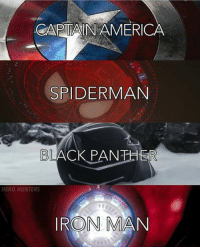 "America, Iron Man, and Ironic: CAPTAIN AMERICA  SPIDERMAN  BLACK PANTHER  HERO HUNTERS  IRON MAN Which of the 4 is your favorite?   Credit: ""hero.hunters"" (IG)   #CaptainAmerica #SpiderMan #BlackPanther #IronMan"