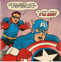 America, Shield, and Why: CAPTAIN AMERICA, STOP!  ITS IMPOSsIBLE FOR YOU  TO EAT YOUR SHIELD  IF I DON'T, BUCKY  'LL DIE ! Why Cap, why?