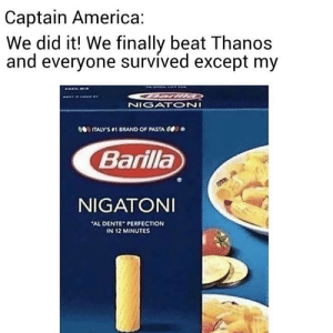 America, Dank Memes, and Thanos: Captain America:  We did it! We finally beat Thanos  and everyone survived except my  NIGAON  TALYS1 BRAND OF PASTA OD  Barilla  NIGATONI  AL DENTE PERFECTION  N 12 MINUTES LMAOOOO