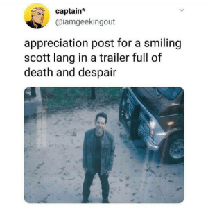 That trailer hit us like a two by four... Sending good vibes to those who have finals this week and next. Breath and study hard! You can do it!! {Credit tagged}: captain*  @iamgeekingout  appreciation post for a smiling  scott lang in a trailer full of  death and despair That trailer hit us like a two by four... Sending good vibes to those who have finals this week and next. Breath and study hard! You can do it!! {Credit tagged}