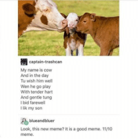 Memes, 🤖, and Cow: captain-trashcan  My name is cow  And in the day  Tu wish him well  Wen he go play  With tender hart  And gentle tung  I bid farewell  I lik my son  blueandbluer  Look, this new meme? It is a good meme. 1110  meme Ending adieuadieuvds with this cow love