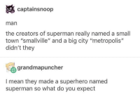 """Memes, Superhero, and Superman: captainsnoop  man  the creators of superman really named a small  town """"smallville"""" and a big city """"metropolis""""  didn't they  grandmapuncher  I mean they made a superhero named  superman so what do you expect Quality 👌🏻"""