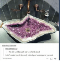Memes, 🤖, and Scout: captainspoopy scout  this sink would actually tear your hands apart.  l didn't realize you all vigorously rubbed your hands against your sink  357,059 notes Do you not vigorously rub your hands against the sink? ~🦉