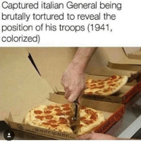 Memes, 🤖, and Torture: Captured italian General being  brutally tortured to reveal the  position of his troops (1941,  colorized)